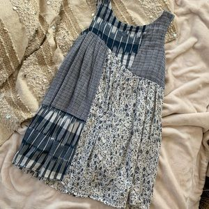 Anthropologie blue IVY patchwork sleeveless dress